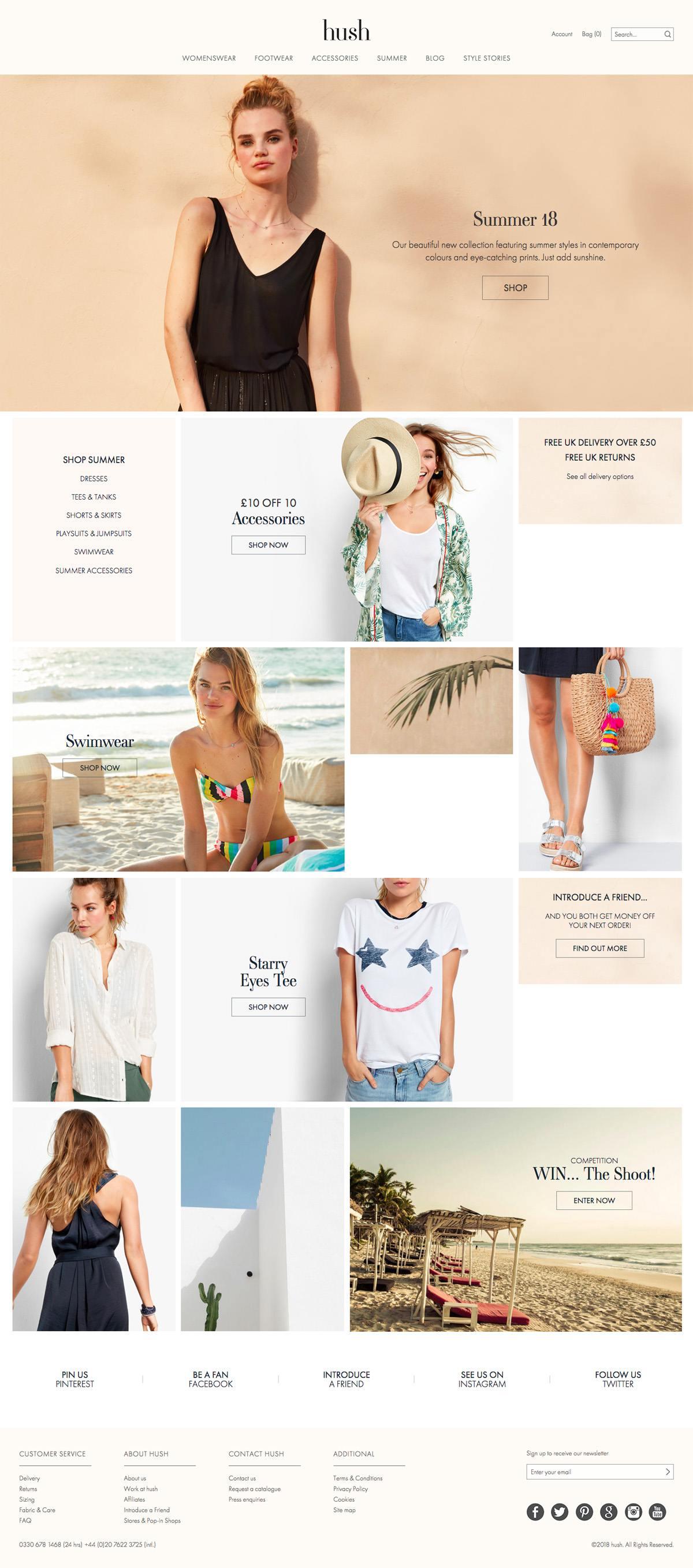 eCommerce website: Hush