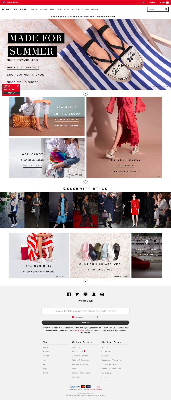 eCommerce website: Kurt Geiger