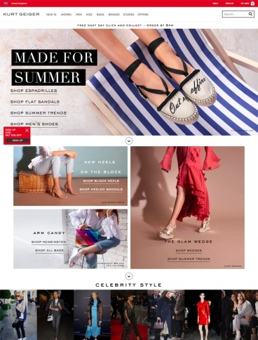 eCommerce website: Kurt Geiger