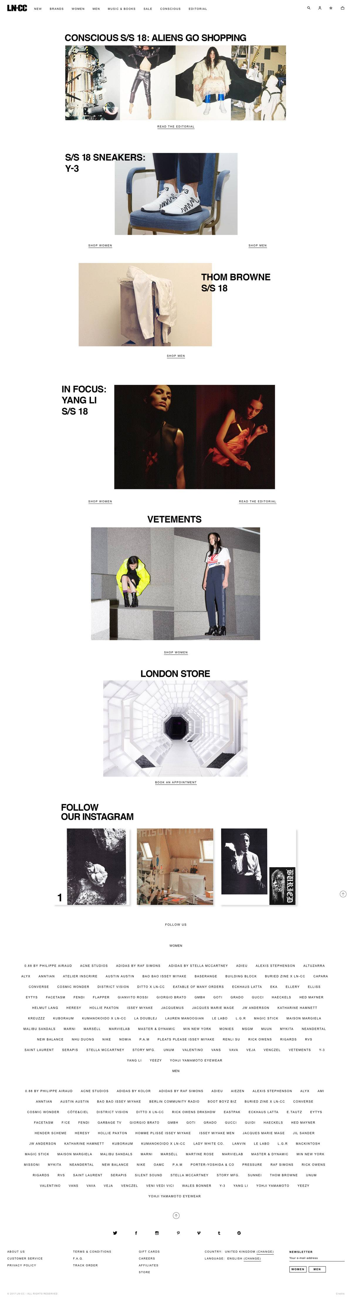 eCommerce website: LN-CC