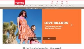 eCommerce website: TK Maxx