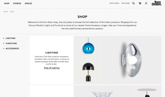 eCommerce website: Tom Dixon Studio