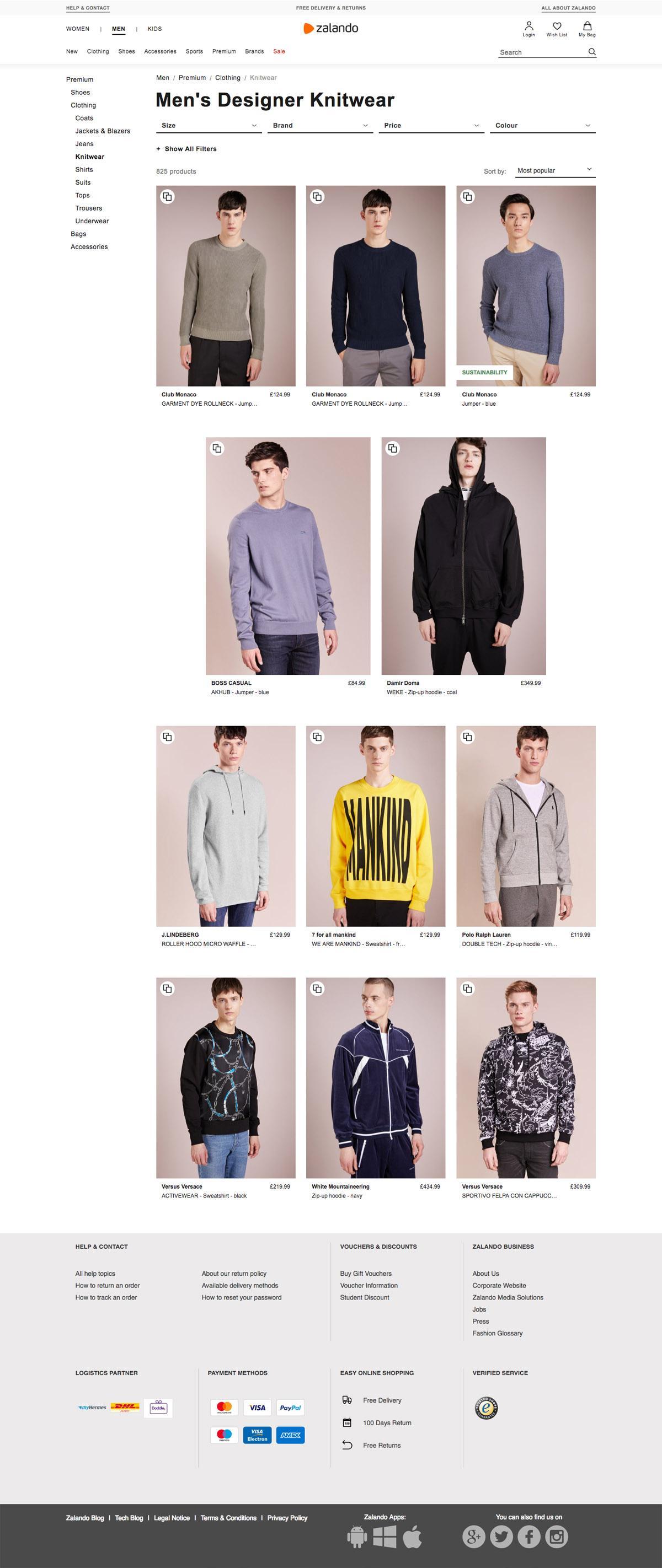 eCommerce website: Zalando