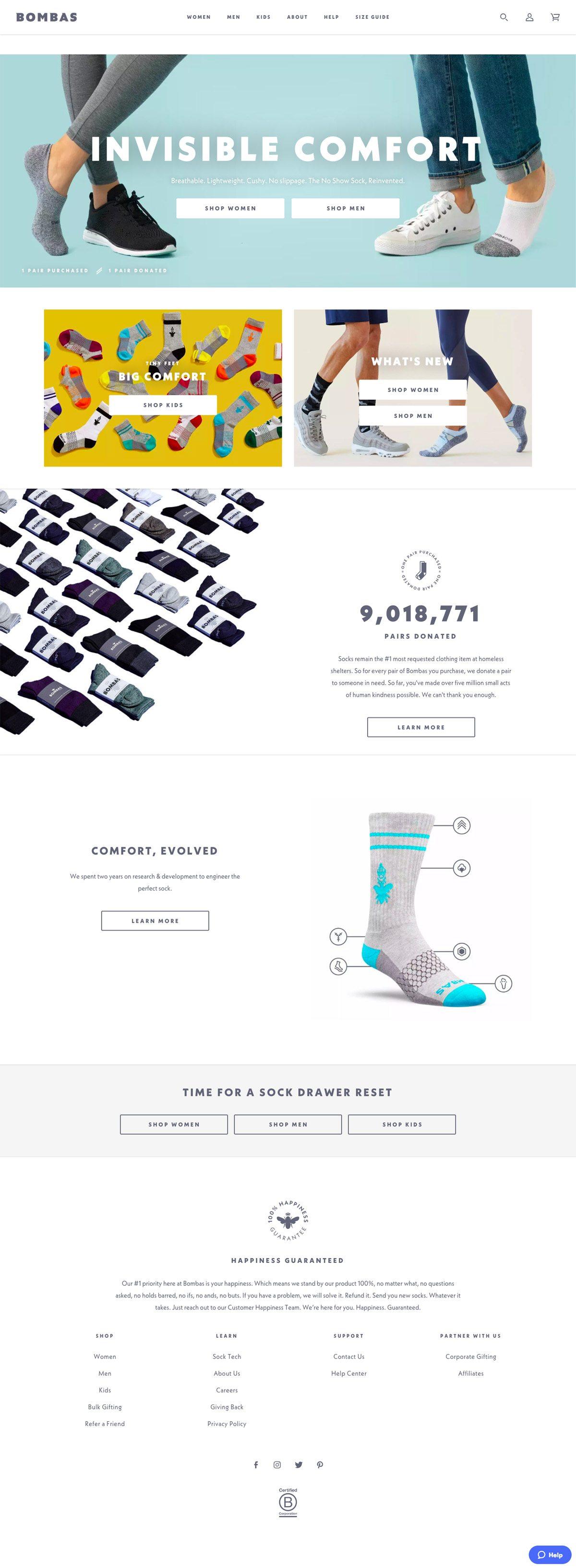 eCommerce website: Bombas