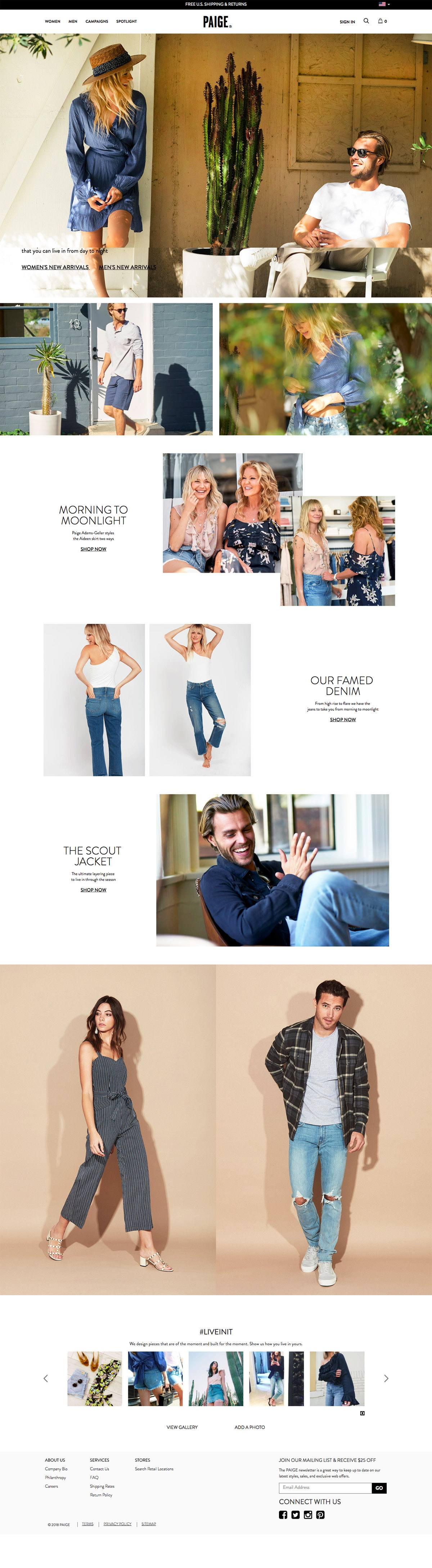 eCommerce website: PAIGE