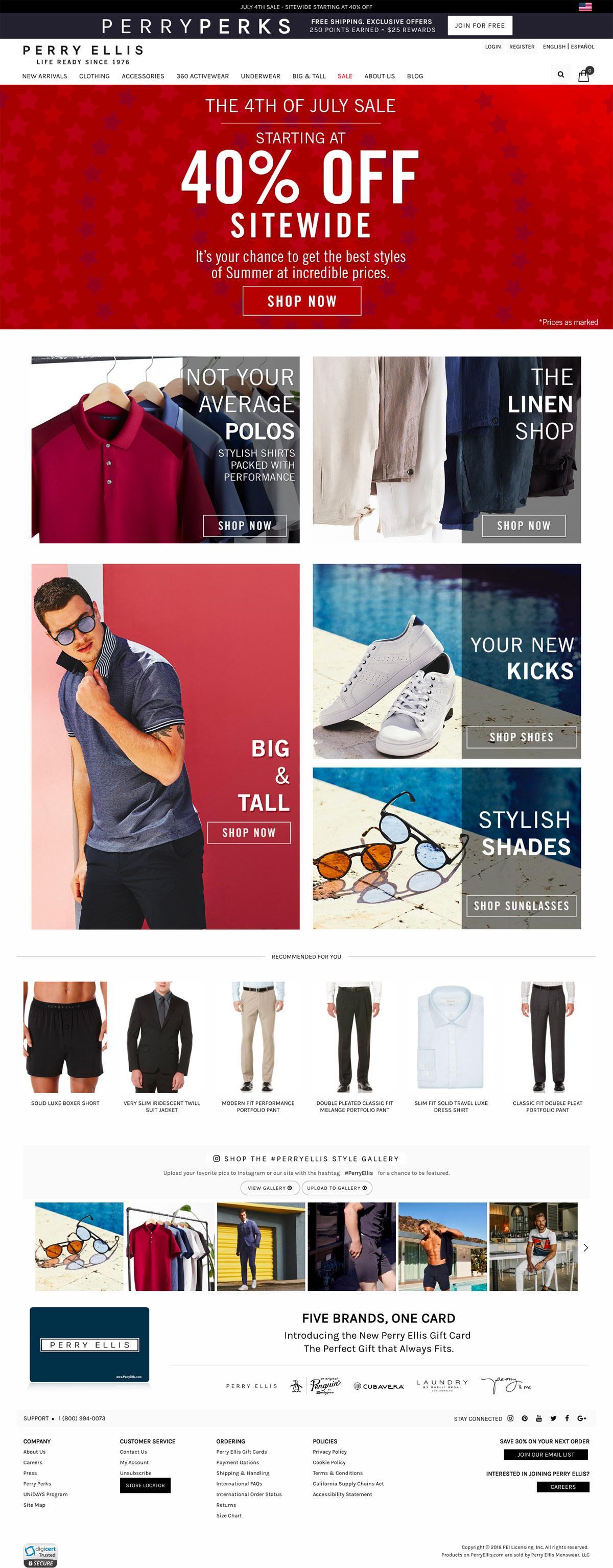 eCommerce website: Perry Ellis