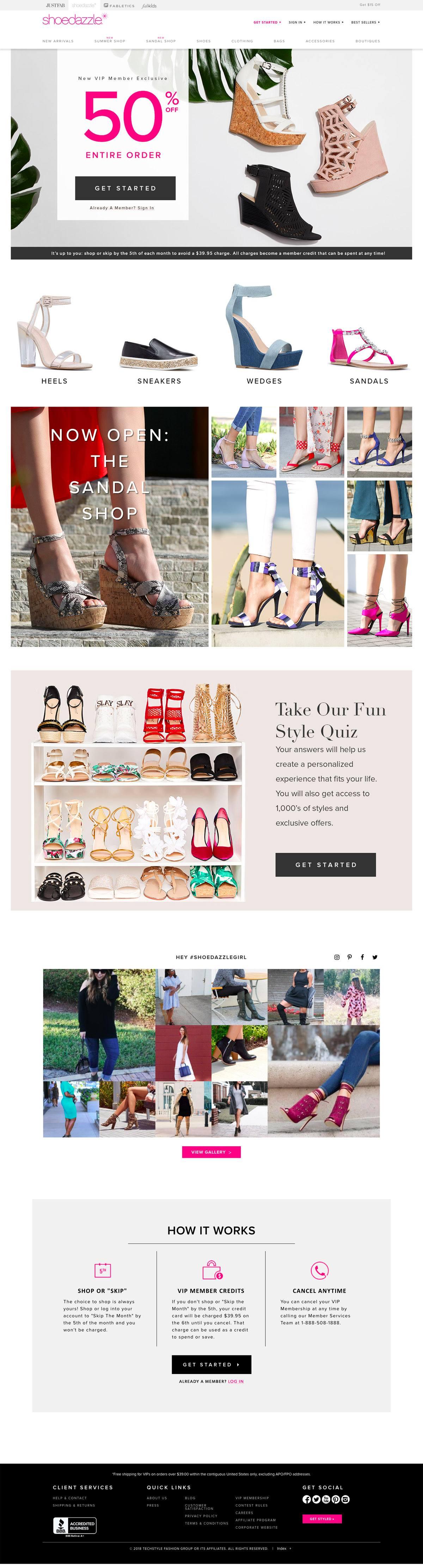 eCommerce website: ShoeDazzle