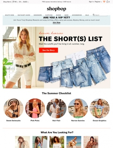 eCommerce website: Shopbop