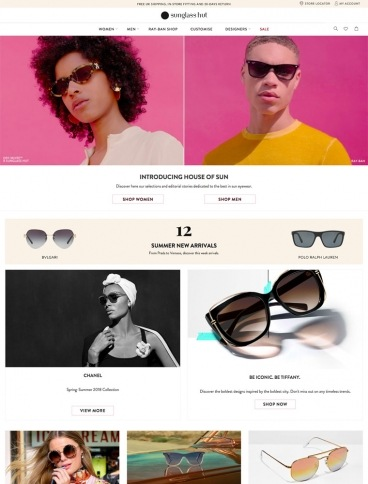eCommerce website: Sunglass Hut