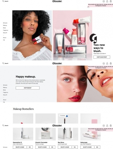 eCommerce website: Glossier