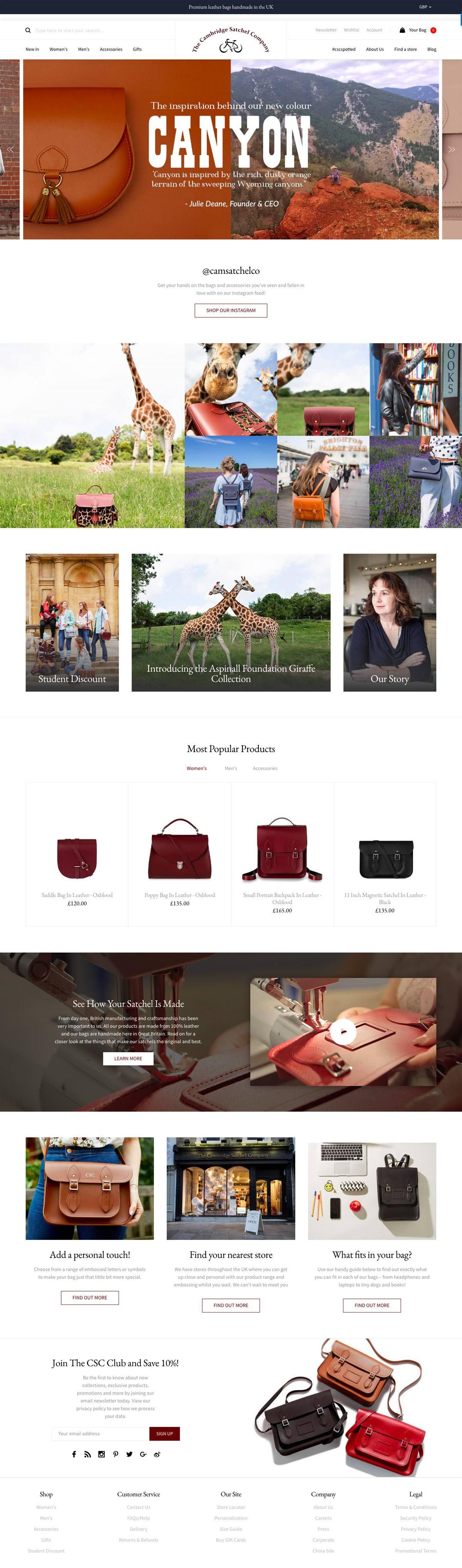 eCommerce website: Cambridge Satchel
