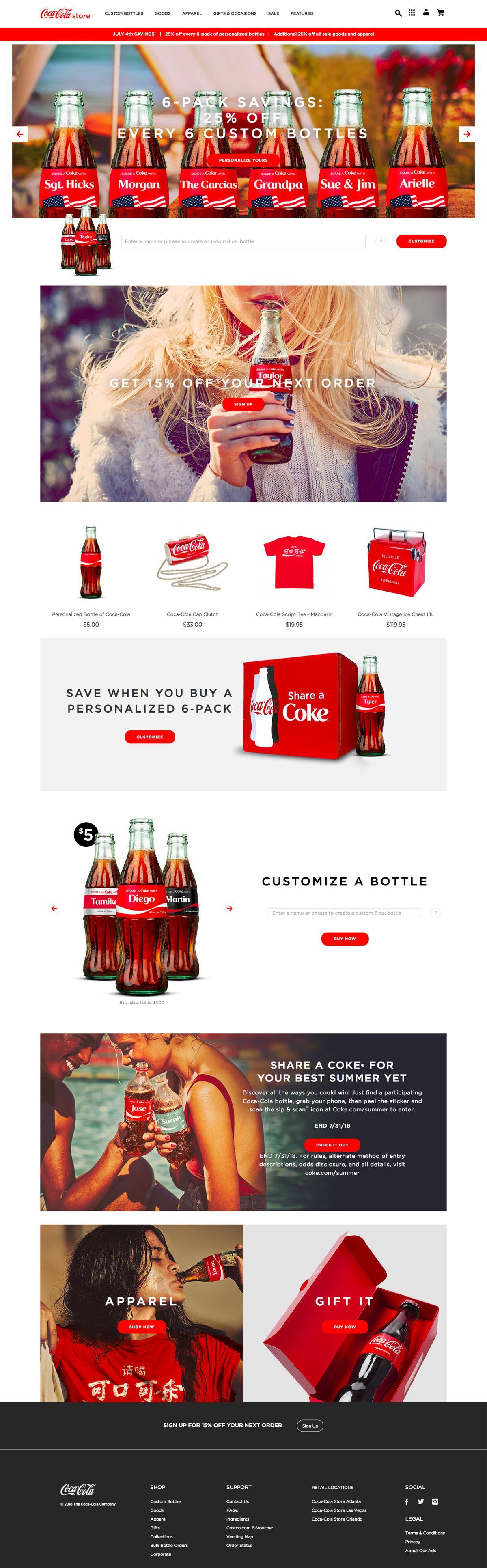 eCommerce website: Coke Store