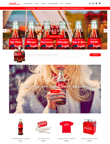 eCommerce website: Coke Store