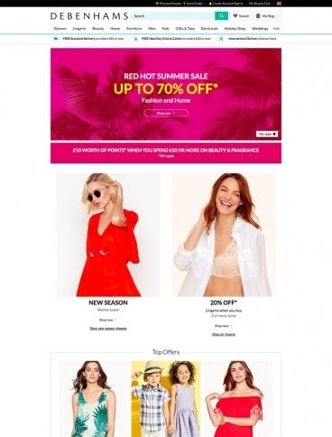 eCommerce website: Debenhams