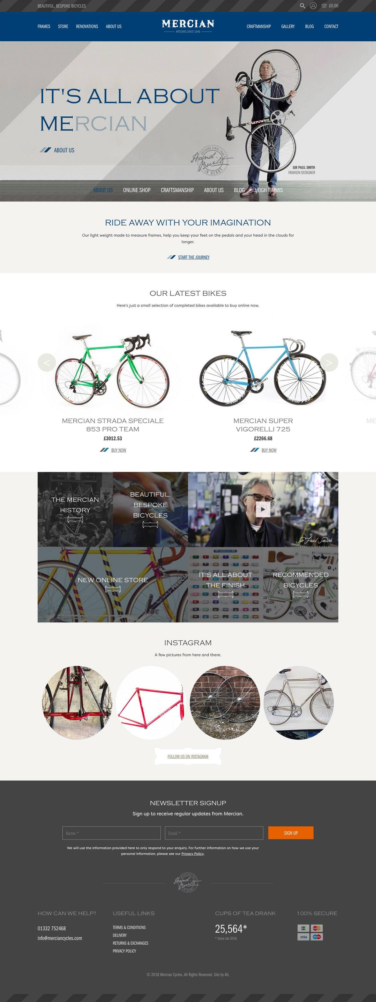 eCommerce website: Mercian Cycles