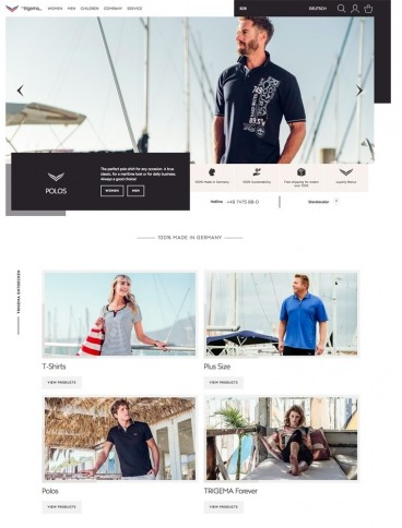 eCommerce website: TRIGEMA