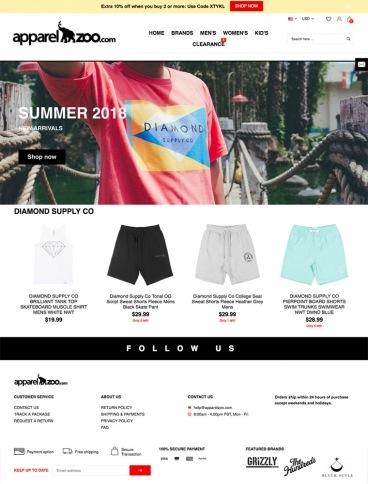 eCommerce website: Apparel Zoo