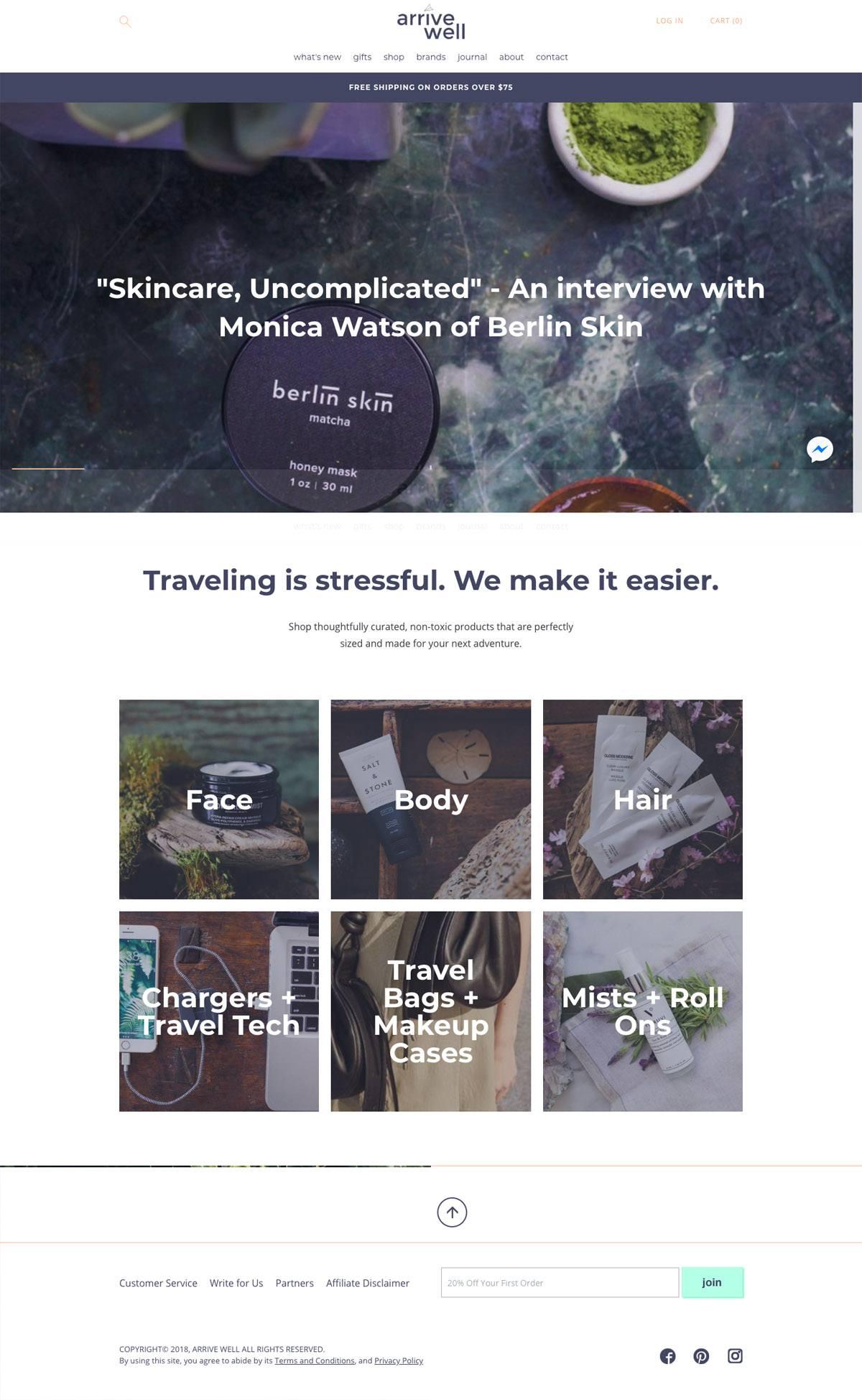 eCommerce website: Arrive Well