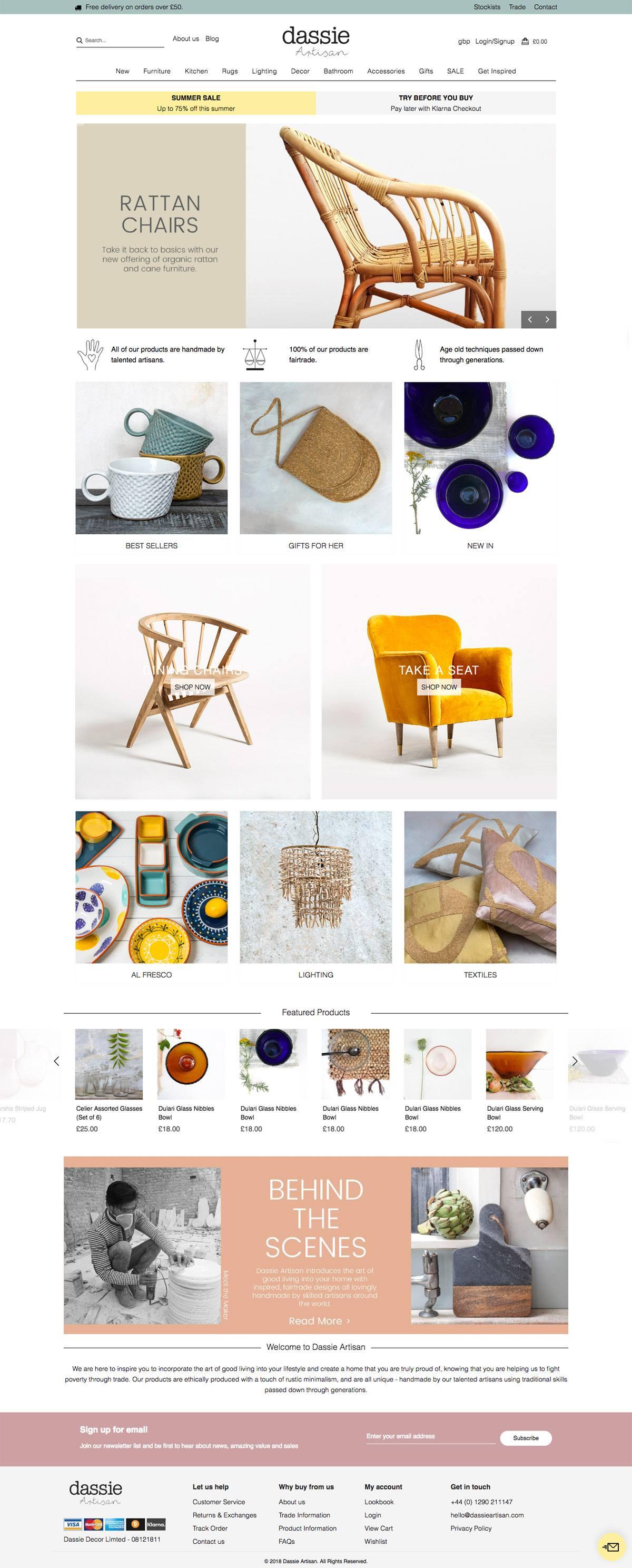 eCommerce website: Dassie Artisan