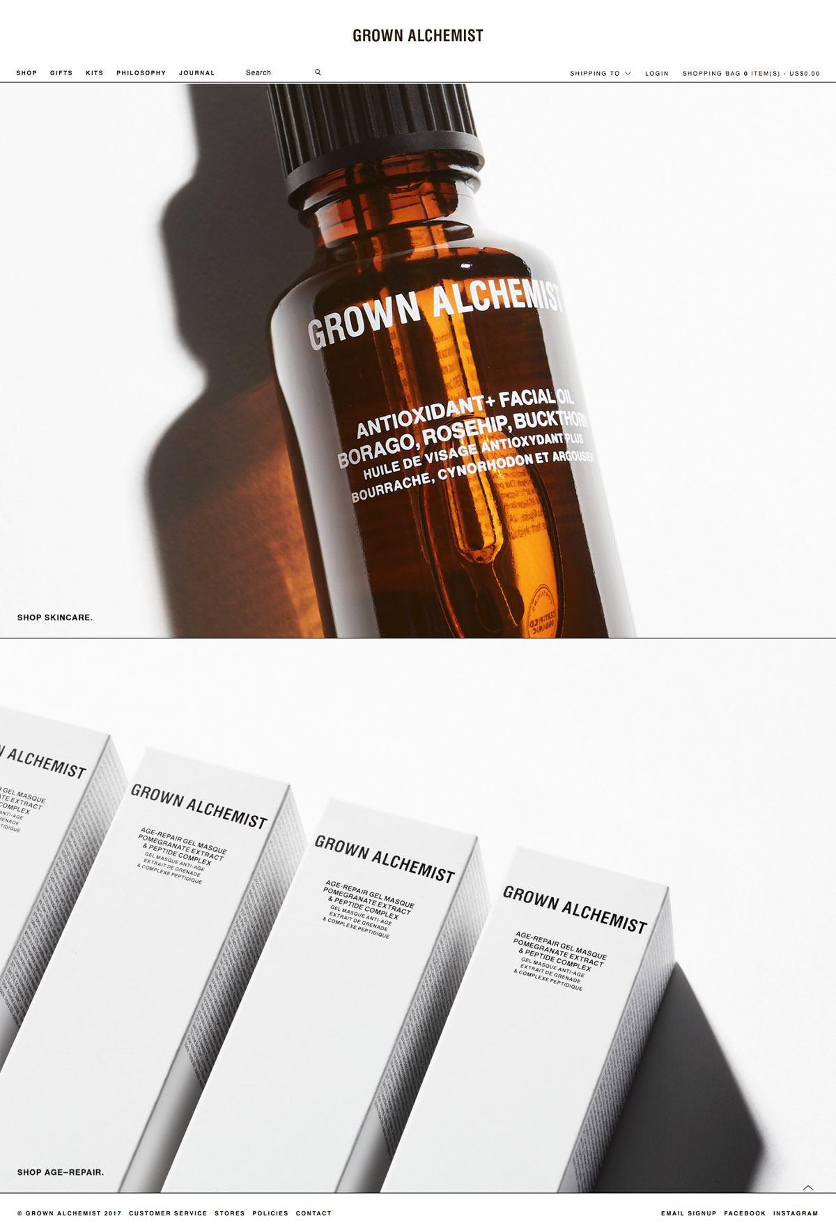eCommerce website: Grown Alchemist