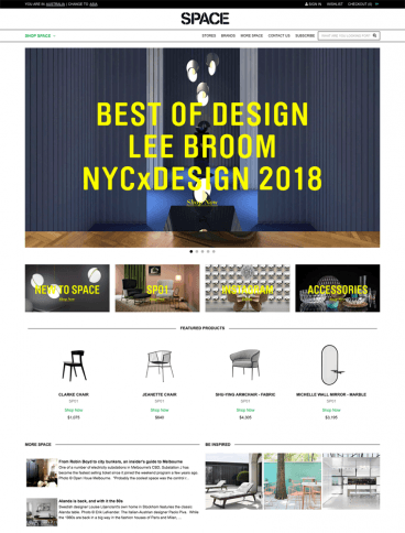 eCommerce website: Space Furniture