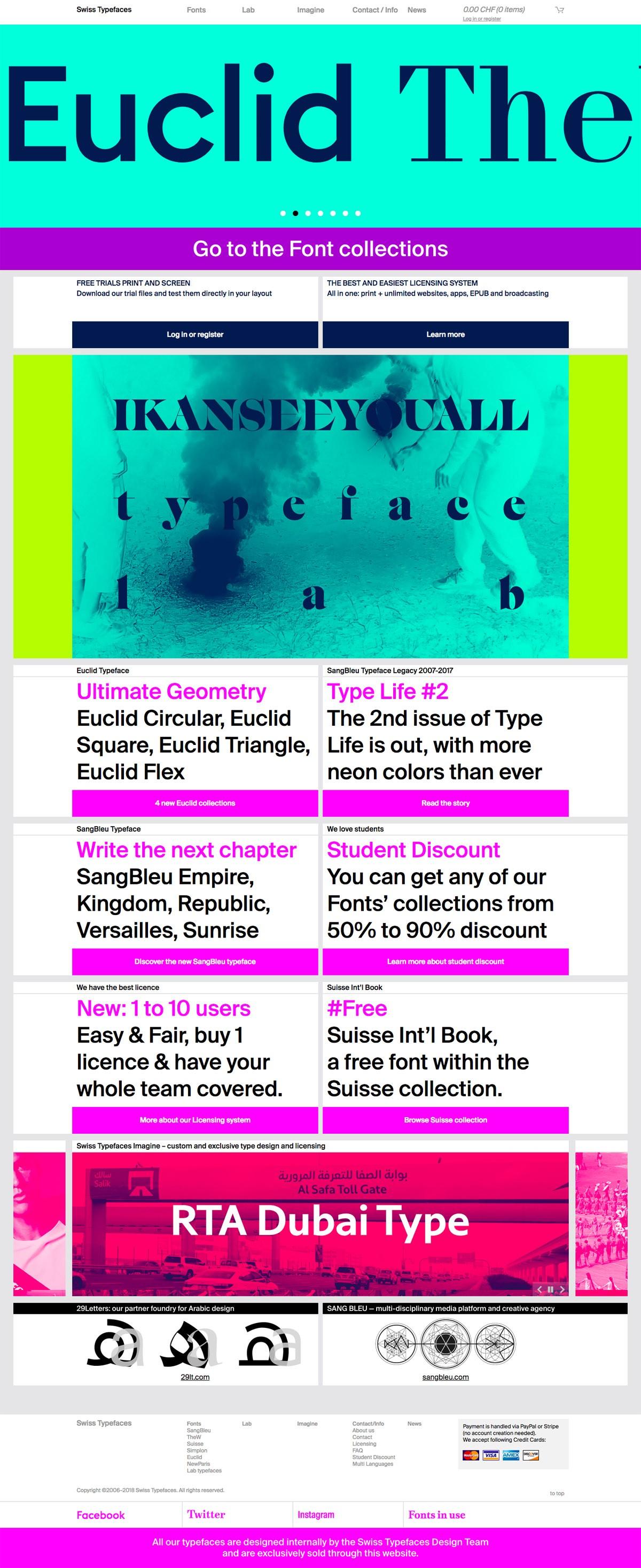 eCommerce website: Swiss Typefaces
