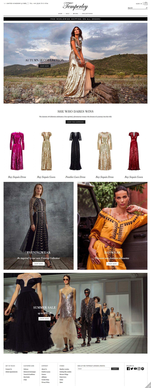 eCommerce website: Temperley London
