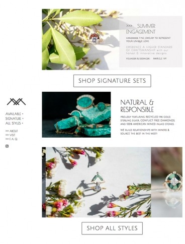 eCommerce website: YOUNG IN THE MOUNTAINS