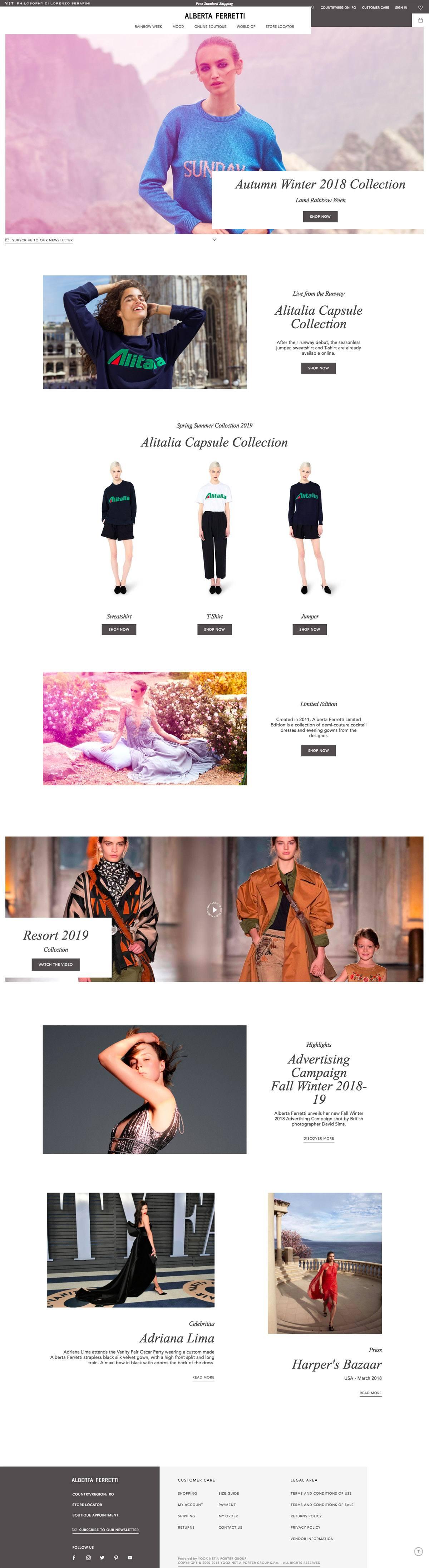 eCommerce website: Alberta Ferretti