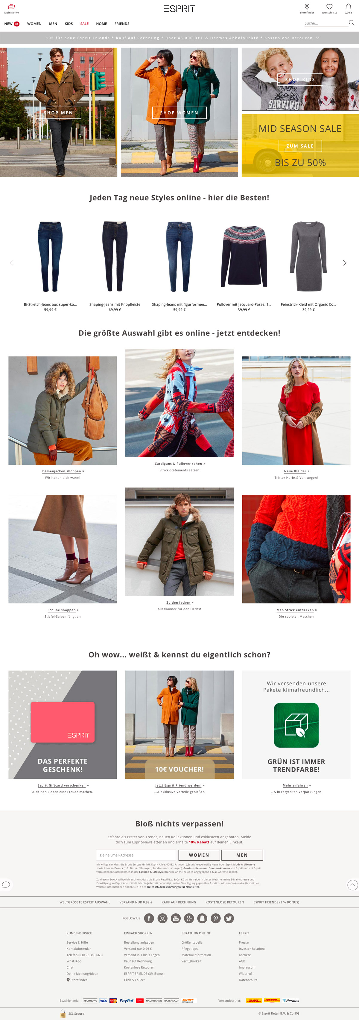eCommerce website: ESPRIT