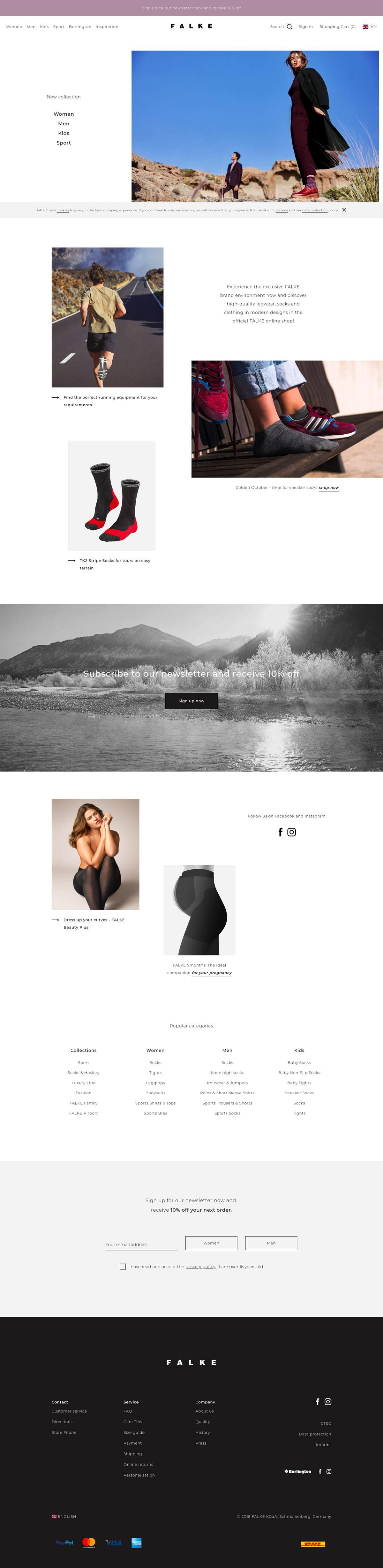 eCommerce website: Falke