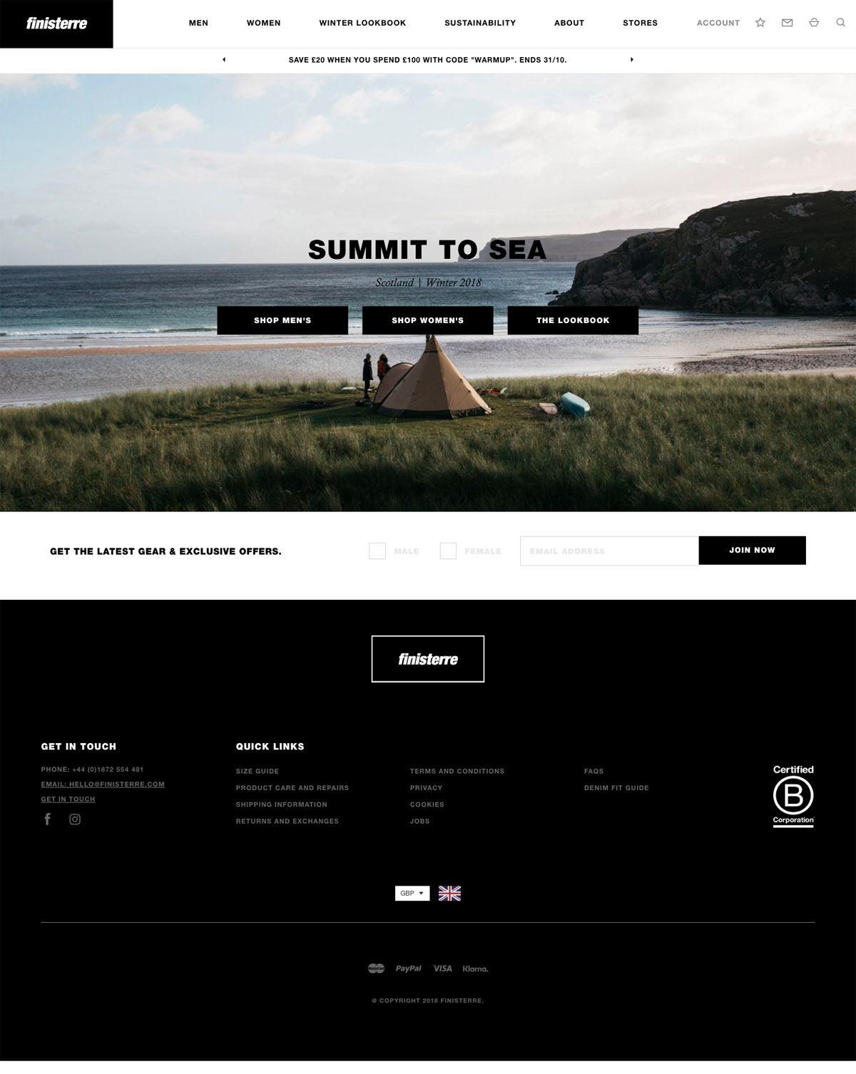 eCommerce website: Finisterre