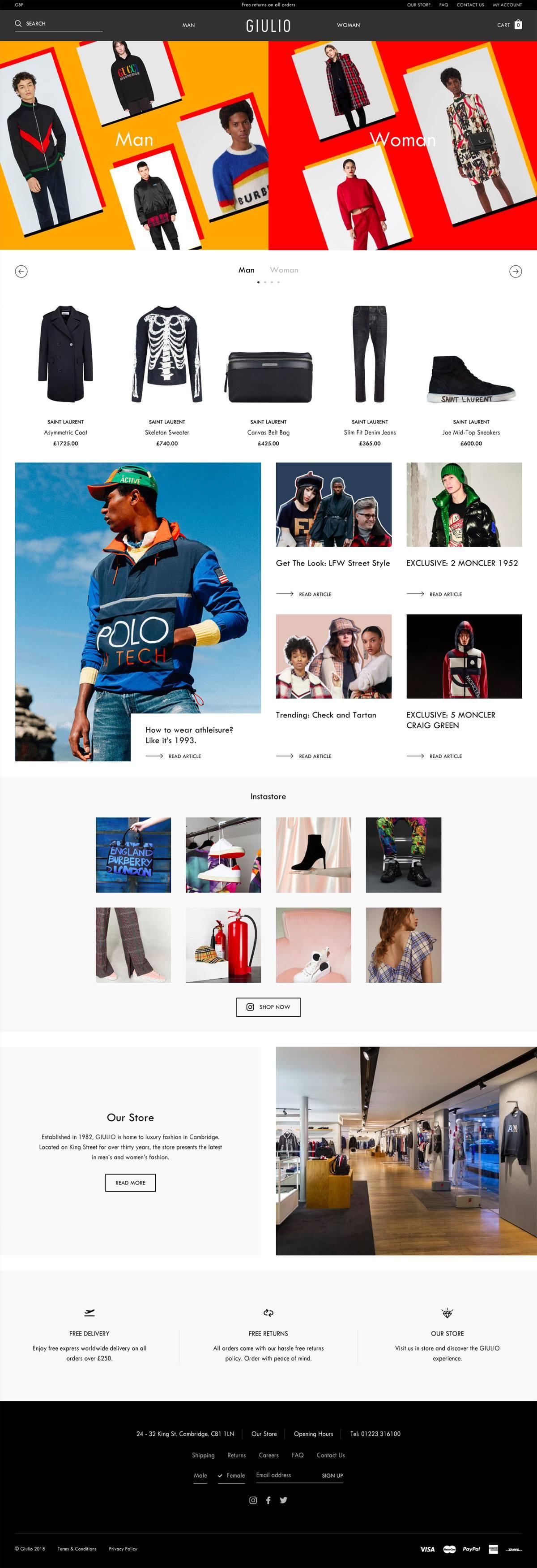 eCommerce website: Giulio