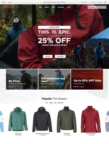 eCommerce website: Marmot