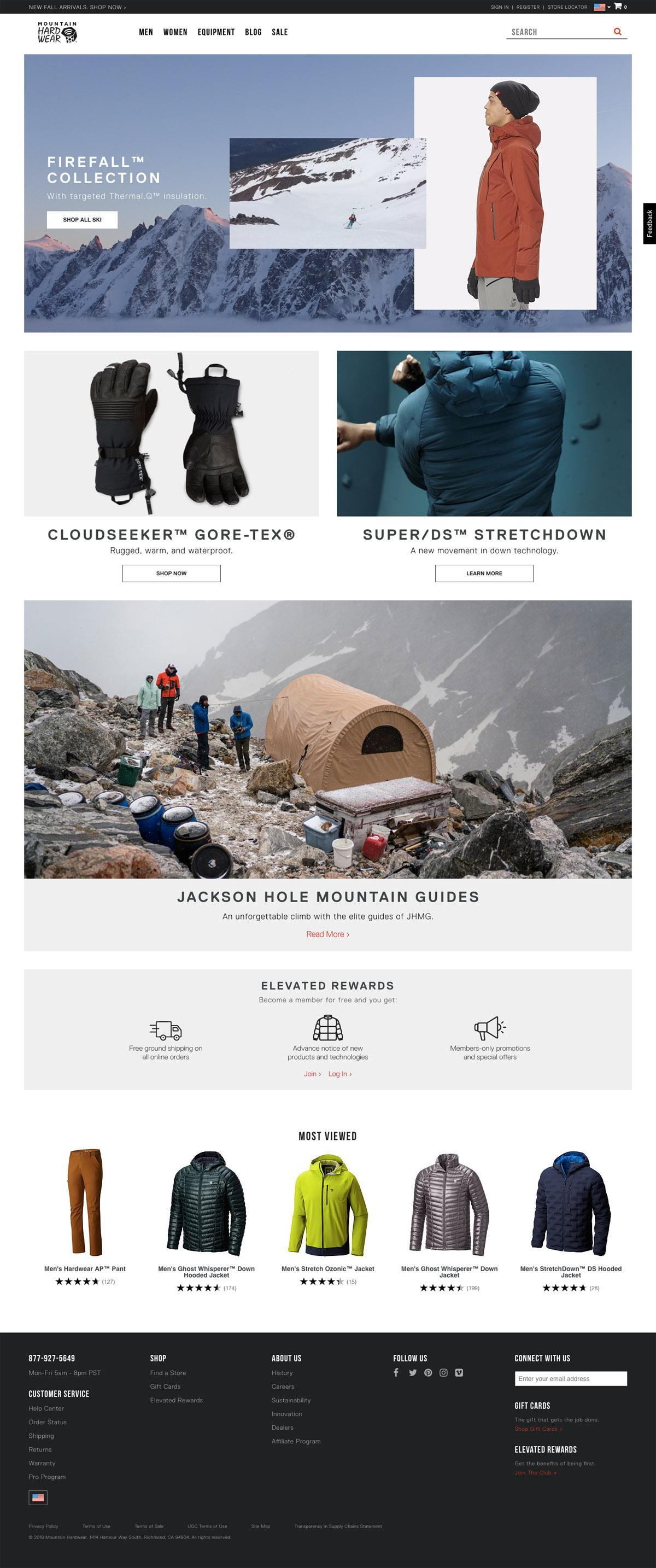 eCommerce website: Mountain Hardwear