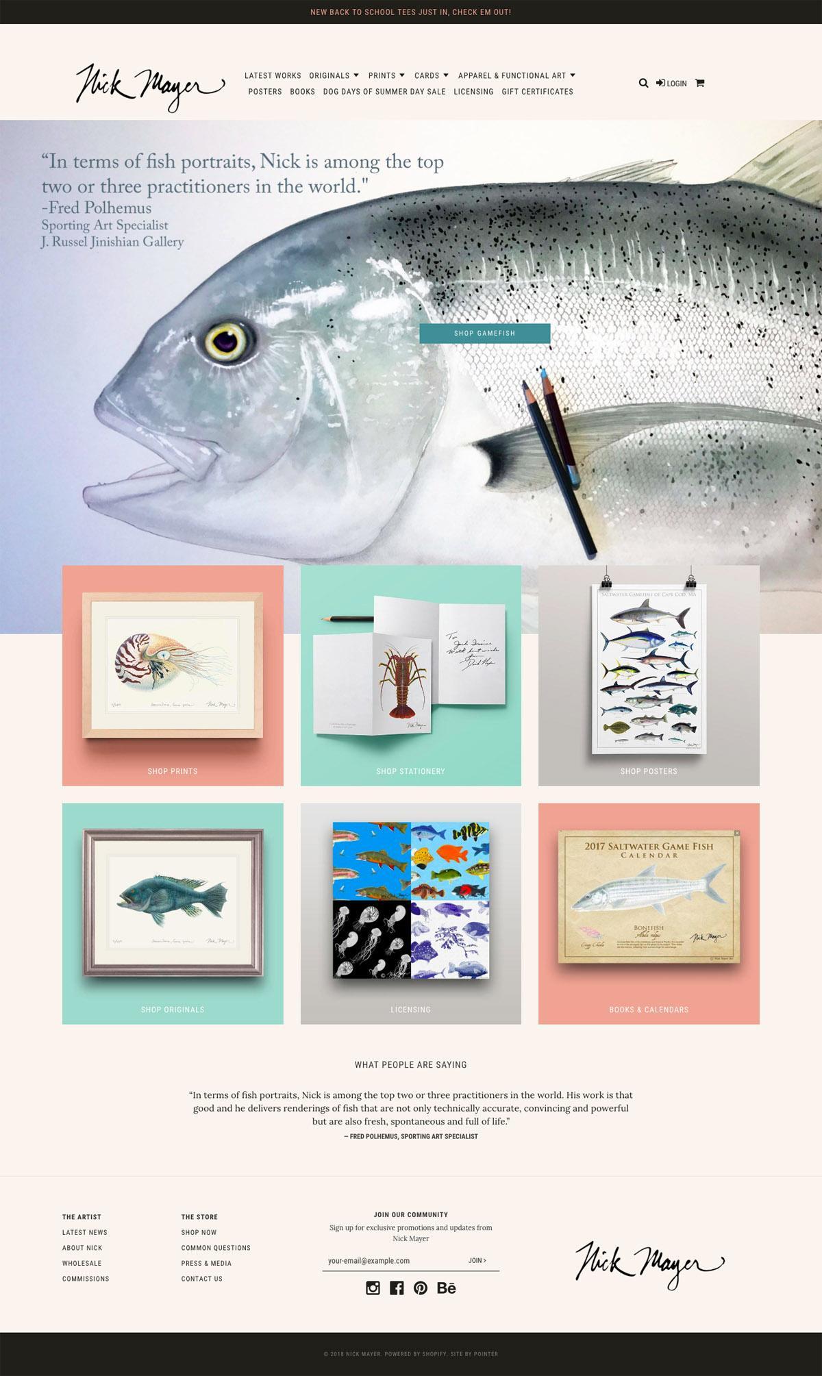 eCommerce website: Nick Mayer Art