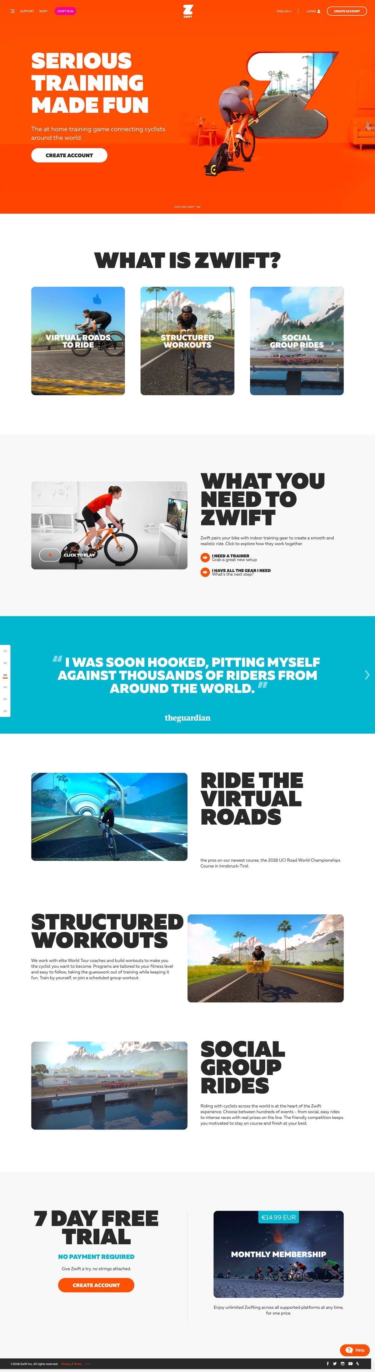 eCommerce website: Zwift
