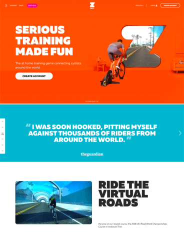 eCommerce website: Zwift