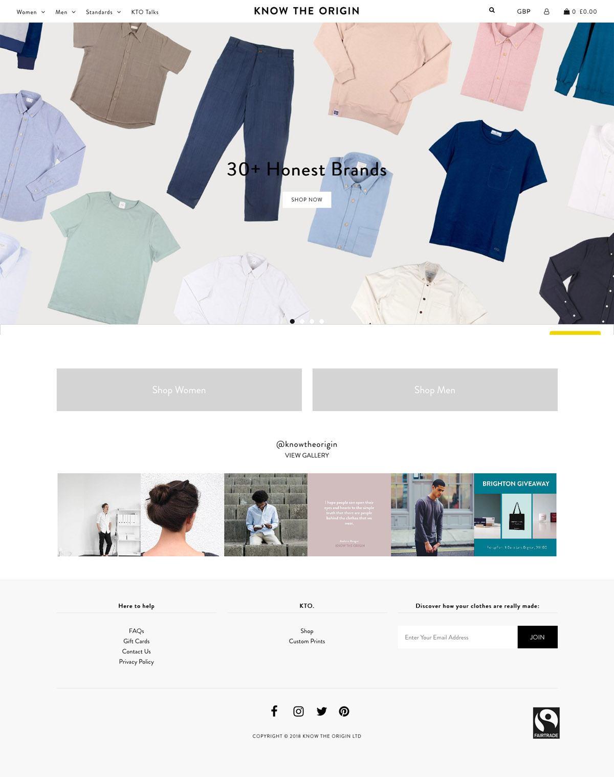 eCommerce website: Know The Origin