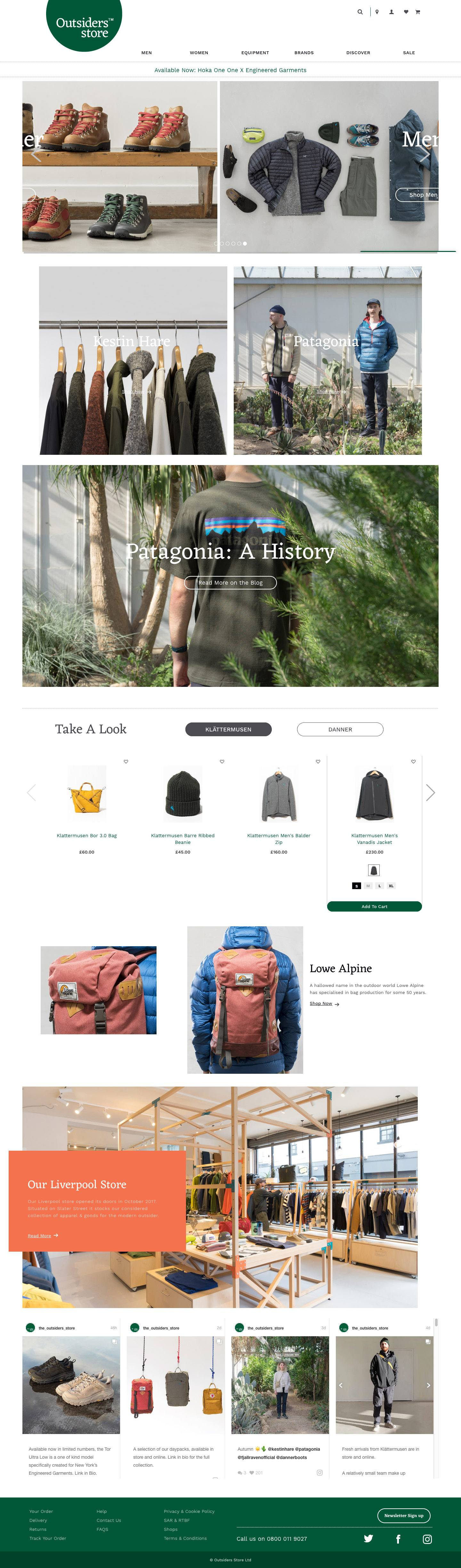 eCommerce website: Outsiders Store