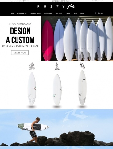 eCommerce website: Rusty Surfboards