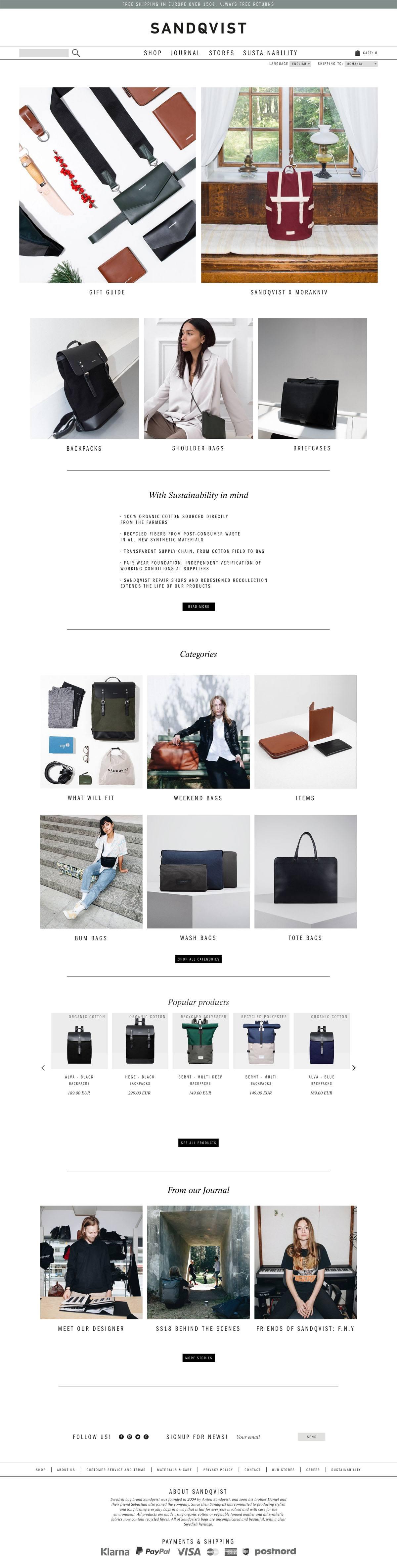 eCommerce website: Sandqvist