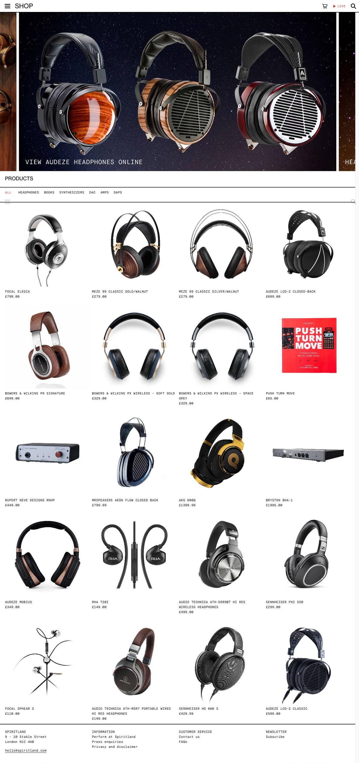 eCommerce website: Spiritland