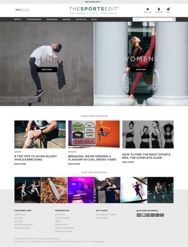 eCommerce website: The Sports Edit