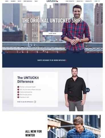 eCommerce website: UNTUCKit