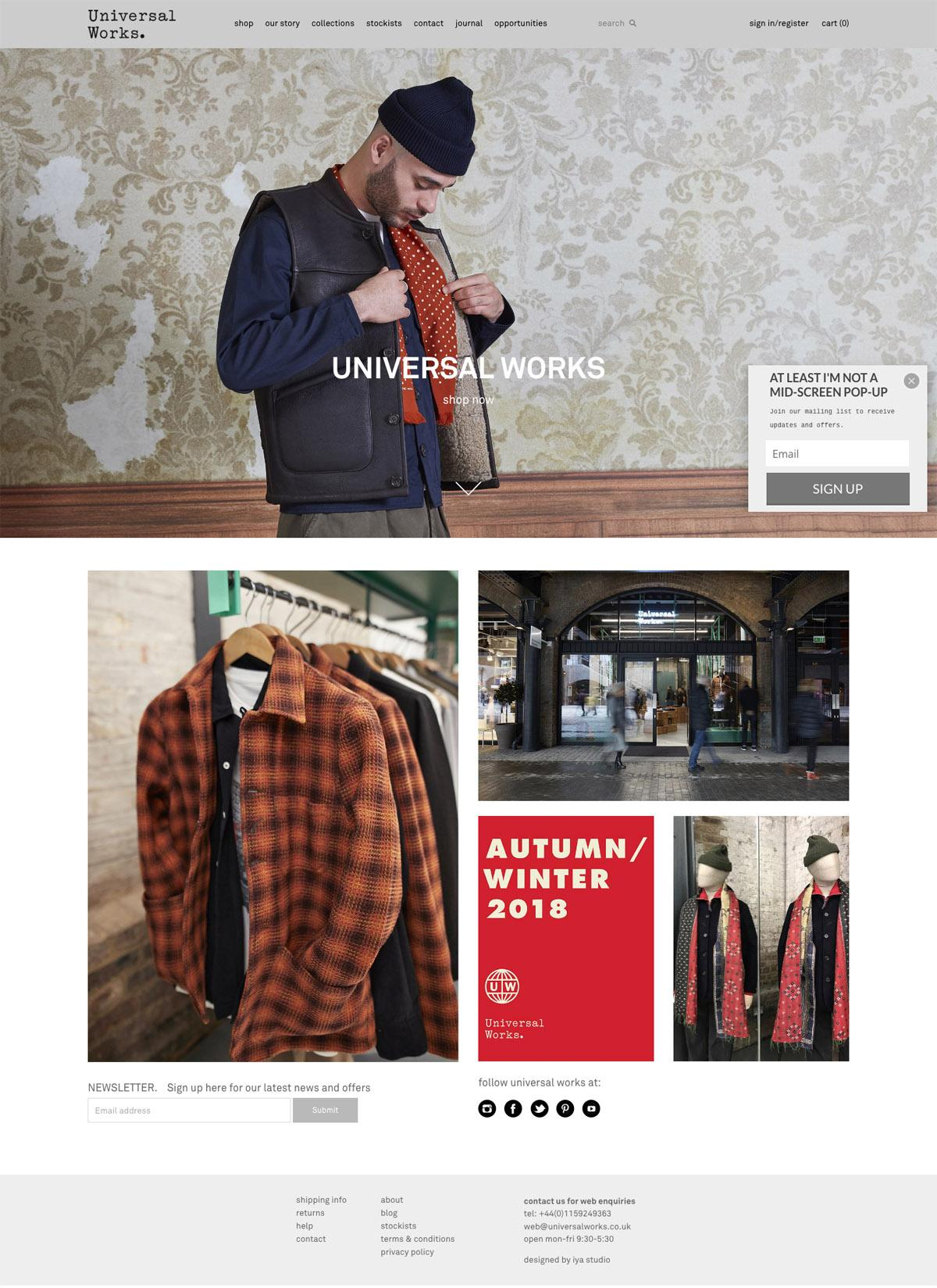 eCommerce website: Universal Works
