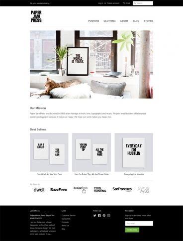 eCommerce website: Paper Jam Press