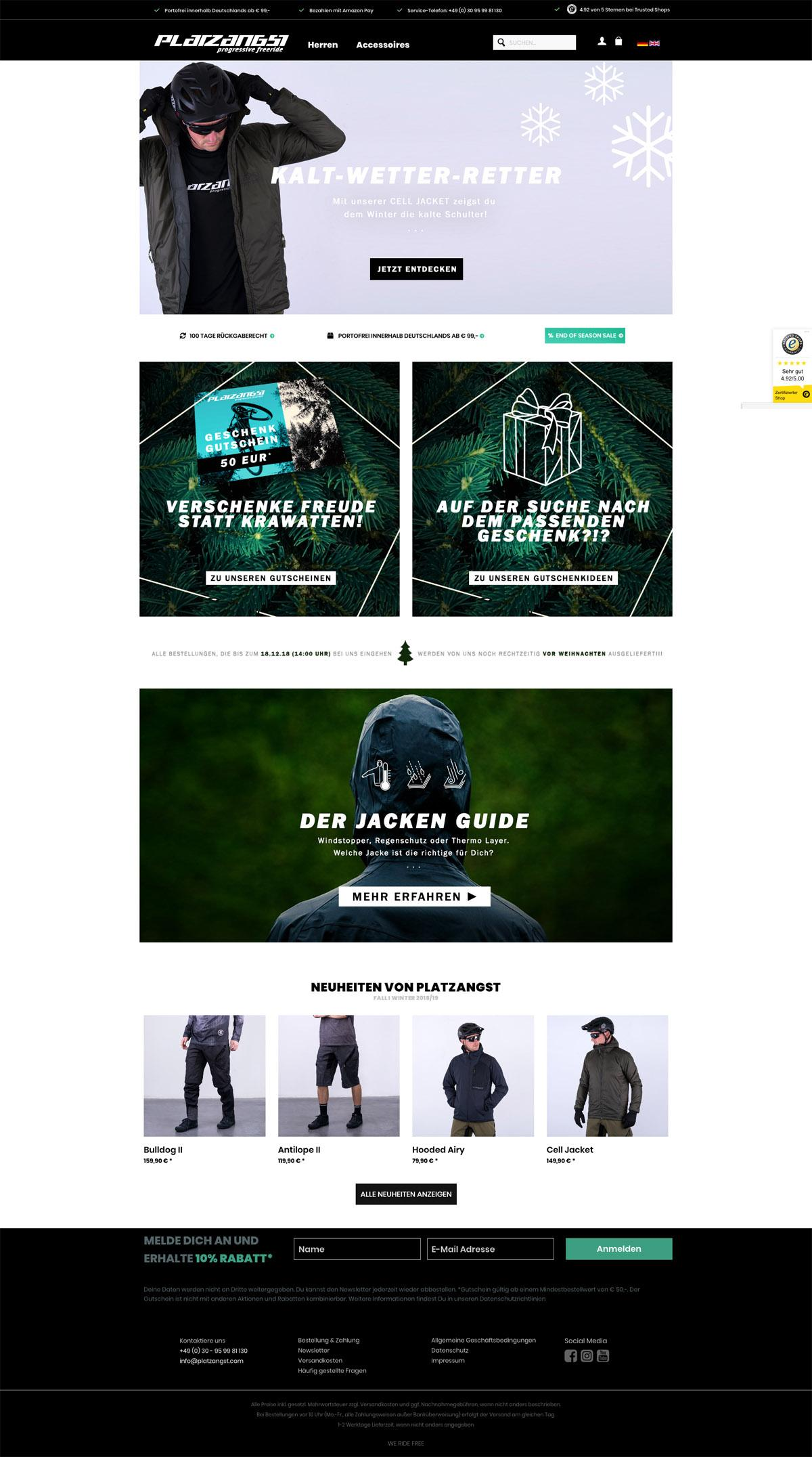 eCommerce website: Platzangst