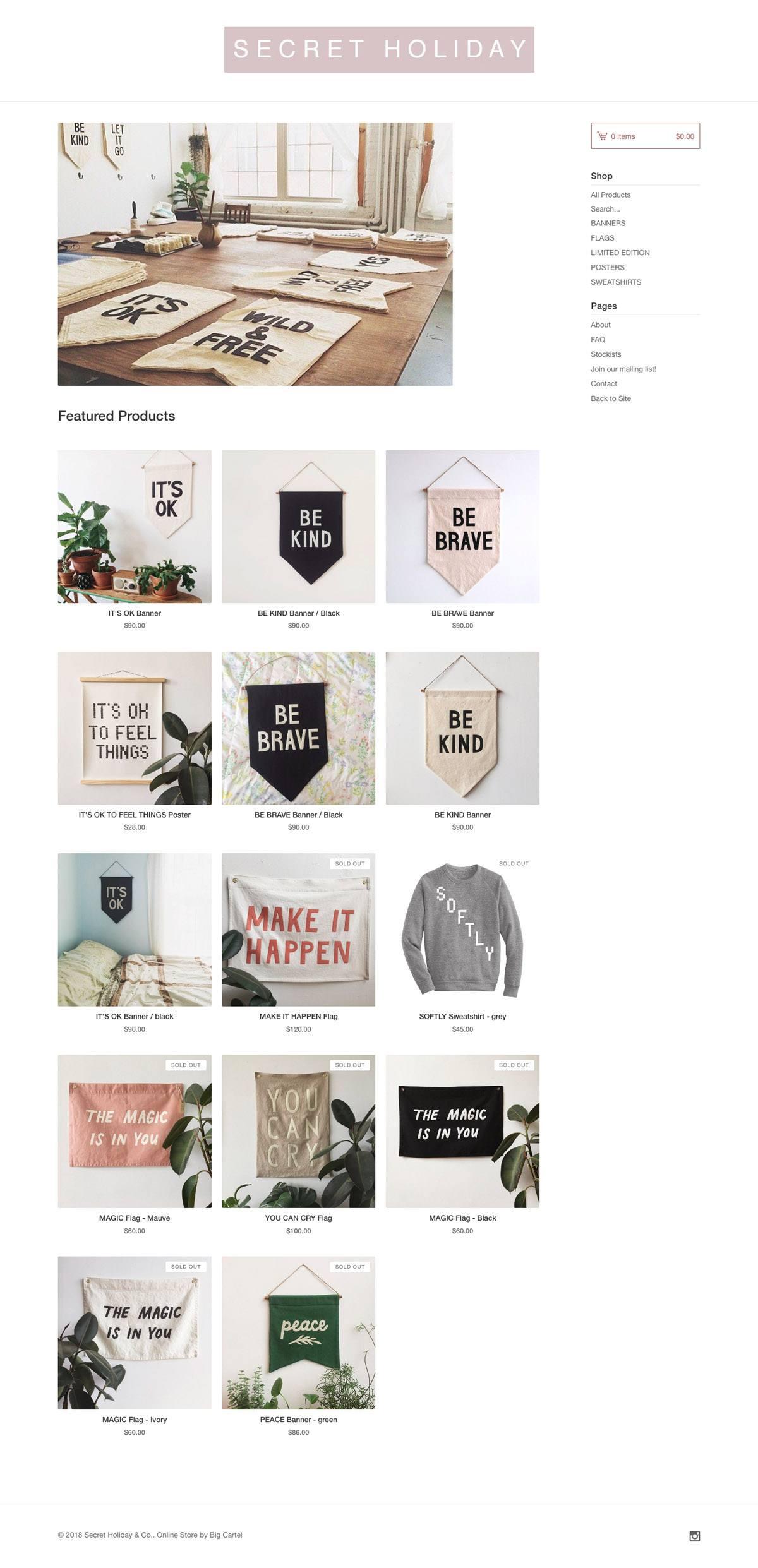 eCommerce website: Secret Holiday & Co.
