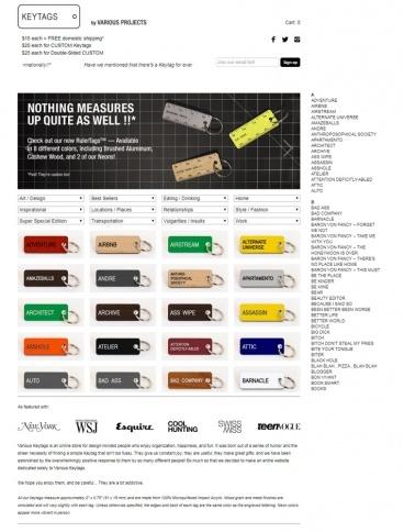 eCommerce website: Various Keytags
